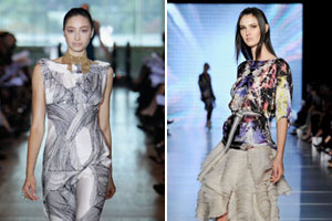 Models wears creations by Lisa Ho (L) and Ginger & Smart (R). Photos / Getty Images