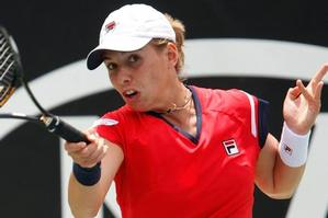Marina Erakovic's racket in action during her first round loss to France's Alize Cornet yesterday. Photo / Brett Phibbs