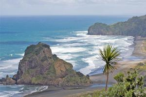 Lion Rock, which was once the site of a pa, can be accessed from the beach at Piha. Photo / Paul Estcourt