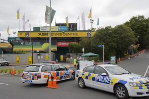 Police investigate a suspect package found during the ASB Classic Women's Tennis Tournament in Auckland today. Photo / NZPA