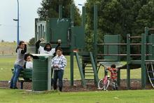 Defiant gestures from young people at the Whakatane playground where the 4-year-old was assaulted. Photo / Alan Gibson