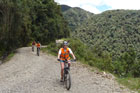 Mountain biking the World's Most Dangerous Road, near La Paz, Bolivia. Photo / NZPA