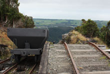 The top of the Denniston Incline which has been partially restored to the way it looked 50 years ago. Photo / Jim Eagles