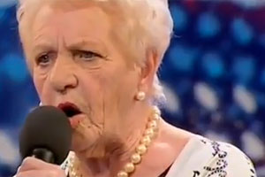 Eighty-year-old Janey Cutler wowed the judges of Britain's Got Talent with her rendition of Non, Je Ne Regrette Rien. Photo / ITV