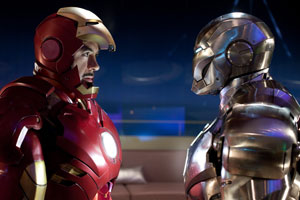 Robert Downey Jr. as Tony Stark (L)  in Iron Man 2. Photo / Supplied
