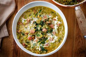 Split pea, chorizo and silverbeet. Photo / Babiche Martens