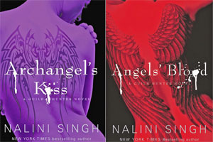 Nalini Singh and Archangel's Kiss and Angel's Blood. Photo / Supplied