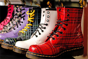 Pat Menzies Shoes, in the Canterbury Arcade on Auckland's Queen St, bought the first Dr Martens boots to New Zealand 35 years ago and still has a wide collection of the latest and classic styles today. Photo / Sarah Ivey