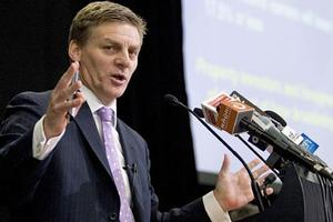 Bill English at the Budget lock-up today. Photo / Mark Mitchell
