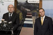 Transport Minister Steven Joyce with Prime Minister John Key at today's announcement. Photo / Mark Mitchell