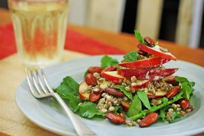 Apple salad with lentils and mint. Photo / Greg Bowker