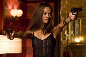 Zoe Saldana plays another female warrior in the big screen adaptation of graphic novel The Losers. Photo / supplied