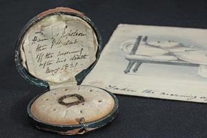 A piece of hair from Napoleon Bonaparte and a lithograph by Denzil Ibbetson of his body. Photo / Brett Phibbs