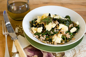 Silverbeet with farro, blue cheese and pumpkin seeds. Photo / Greg Bowker