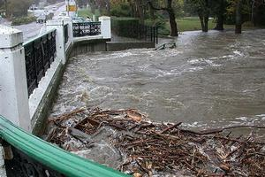 The Oamaru Creek was close to topping the bridge for SH1 in Oamaru at 11am today. Photo / David Bruce/Otago Daily Times