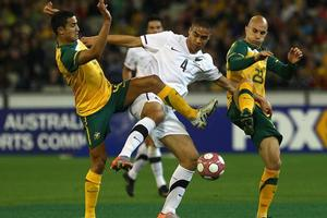 All Whites debutant Winston Reid (C) displayed some nice touches coming off the bench in last night's loss to Australia. Photo / Getty Images