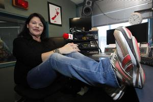 ZM's Polly Gillespie with her special shoes. Photo / Anthony Phelps