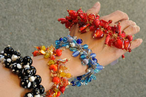 Intan Myer's glass-bead jewellery blends sparkle, light, colour and beauty. The Doubtless Bay resident makes Pandora-style bracelets that teens love. Photo / Supplied