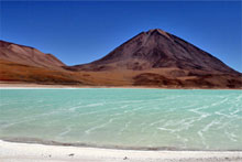 Laguna  Verde, or Green Lake, gets its colour from high concentrations of lead, sulphur and arsenic. Photo / Derek Cheng