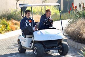 Tony Lochhead (left) and Aaron Clapham get their bearings at the Serengeti Golf and Wildlife Estate. Photo / Brett Phibbs