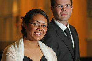 Reporters of the year Vaimoana Tapaleao and Jared Savage at the awards in Auckland last night. Photo / Greg Bowker