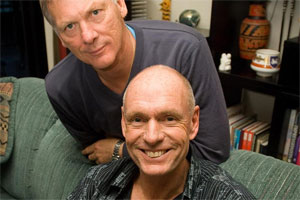 Chris Carter, right, with civil partner Peter Kaiser. Photo / Jason Dorday