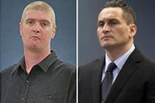 John Skinner and Iain Clegg have denied murdering Sergeant Don Wilkinson. Photos / NZPA