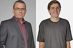 Breakfast's Paul Henry, left, was duped by comedian Guy Williams. Photos / Supplied