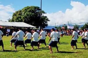 Manu Samoa players perform a haka during the celebrations in their honour in Apia yesterday. Photo / Cherelle Jackson