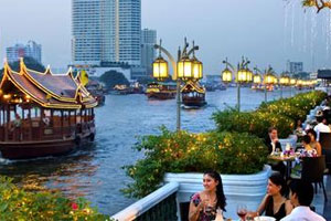 The River Terrace and the Chao Praya River at dusk. Photo / Jill Worrall