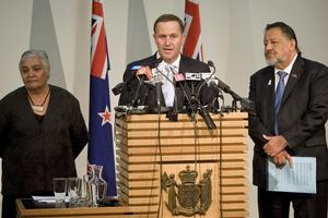 John Key, with Maori Party co-leaders Tariana Turia and Pita Sharples, announces their agreement to scap the Foreshore and Seabed Act. Photo / Mark Mitchell