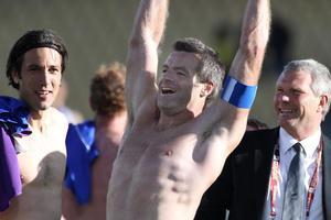 A jubilant Ryan Nelsen after the match. Photo / Brett Phibbs