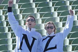 Kiwi fans cheer on the All Whites during their World Cup match against Slovakia in Rustenburg. Photo / Brett Phibbs