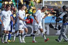 All Whites Ryan Nelsen (L), Tommy Smith and goal scorer Winston Reid after the 1-1 draw against Slovakia. Photo / Brett Phibbs