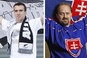 All Whites supporter Jason Beeston (left) and Slovakia supporter Martin Rajok. Photos / Richard Robinson, Hamish Fletcher