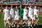 The All Whites before the match. Photo / Brett Phibbs