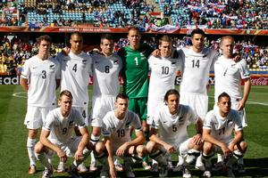 The All Whites before the match. Photo / Brett Phibbs