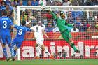 Mark Paston saves a shot at goal by Italy. Photo / Brett Phibbs