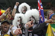 All Whites fans stayed in the stadium cheering, waving and singing after the final whistle, unable to tear themselves away. Photo / Brett Phibbs