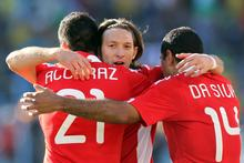 Paraguay's Edgar Barreto (centre) says NZ 'are physically strong people and you have to be careful with the overhead balls, which is what they use mainly.' Photo / AP
