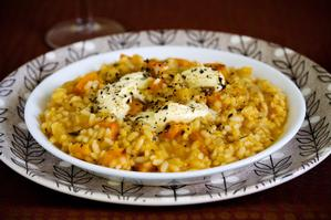 Roasted pumpkin risotto, with mascarpone and rosemary. Photo / Babiche Martens