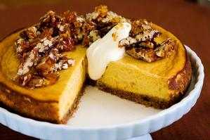 Baked pumpkin cheesecake with pecan toffee. Photo / Babiche Martens