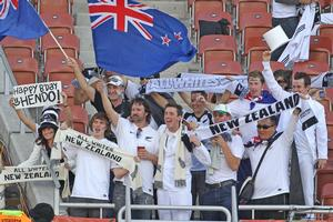 All Whites fans at the World Cup match against Paraguay in Polokwane. Photo / Brett Phibbs