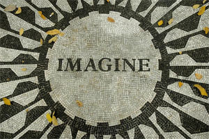 The 'Imagine' plaque at Strawberry Fields. Photo / Richard Robinson