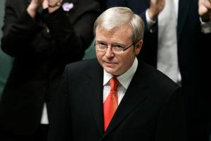 Kevin Rudd plunged in the popularity stakes. Photo / Getty Images