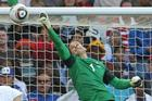 All Whites goalkeeper Mark Paston deflects a shot at goal during New Zealand's 1-1 draw with Italy. Photo / Brett Phibbs