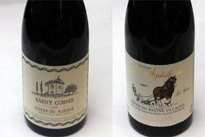 (L-R) 2009 Saint Cosme Cotes-du-Rhone, 2007 Domaine Les Aphillanthes Cotes-du-Rhone. Photo / Doug Sherring