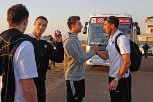 Tommy Smith, Winston Reid, Rory Fallon and James Bannatyne depart from their base in South Africa. Photo / Brett Phibbs
