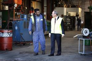 Brown on a visit to Stevenson Engineering. He is pro-business but not pro-market, says council hopeful Dick Quax. Photo / Sarah Ivey