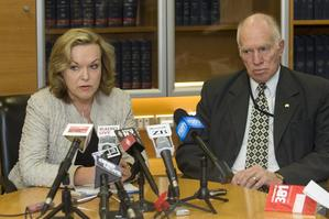 Corrections Minister Judith Collins and chief executive Barry Matthews announce details of the prison smoking ban at a press conference today. Photo / Mark Mitchell